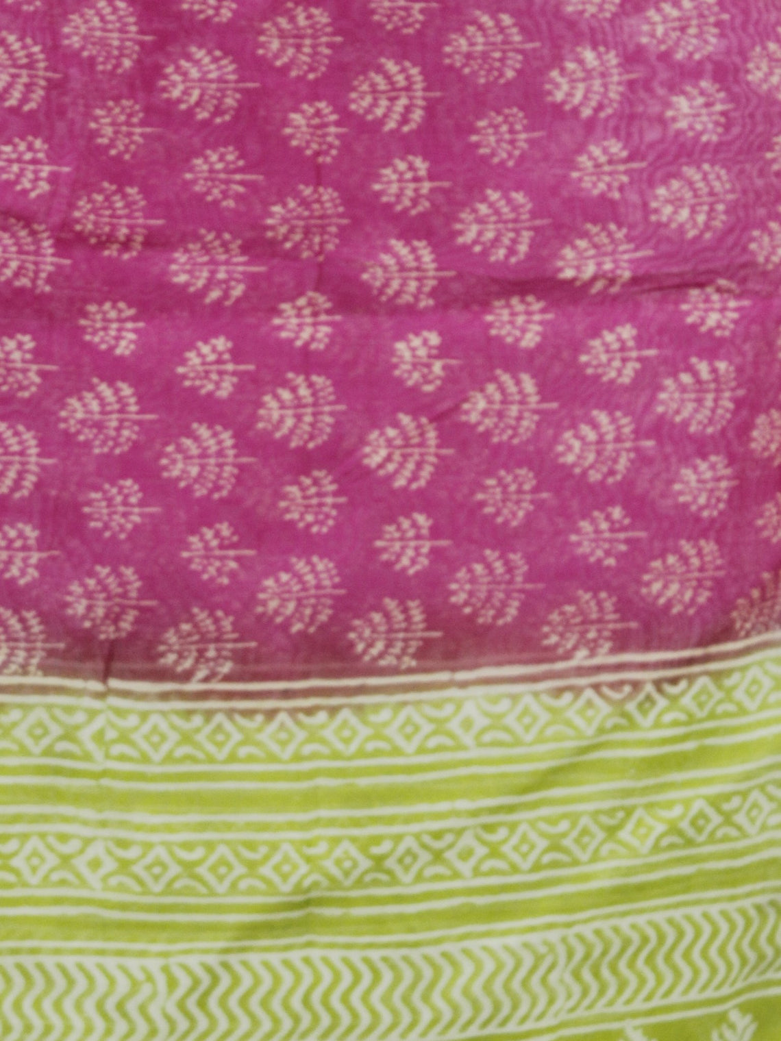 Pink Green Ivory Chanderi Hand Black Printed & Hand Painted Dupatta - D04170281
