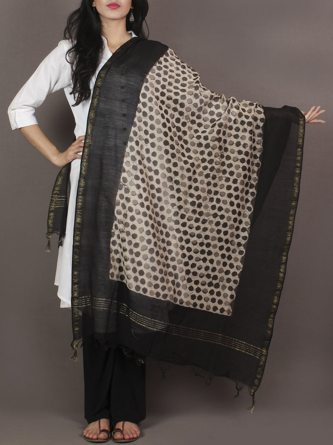 Brown Beige Black Chanderi Hand Black Printed Dupatta - D04170111