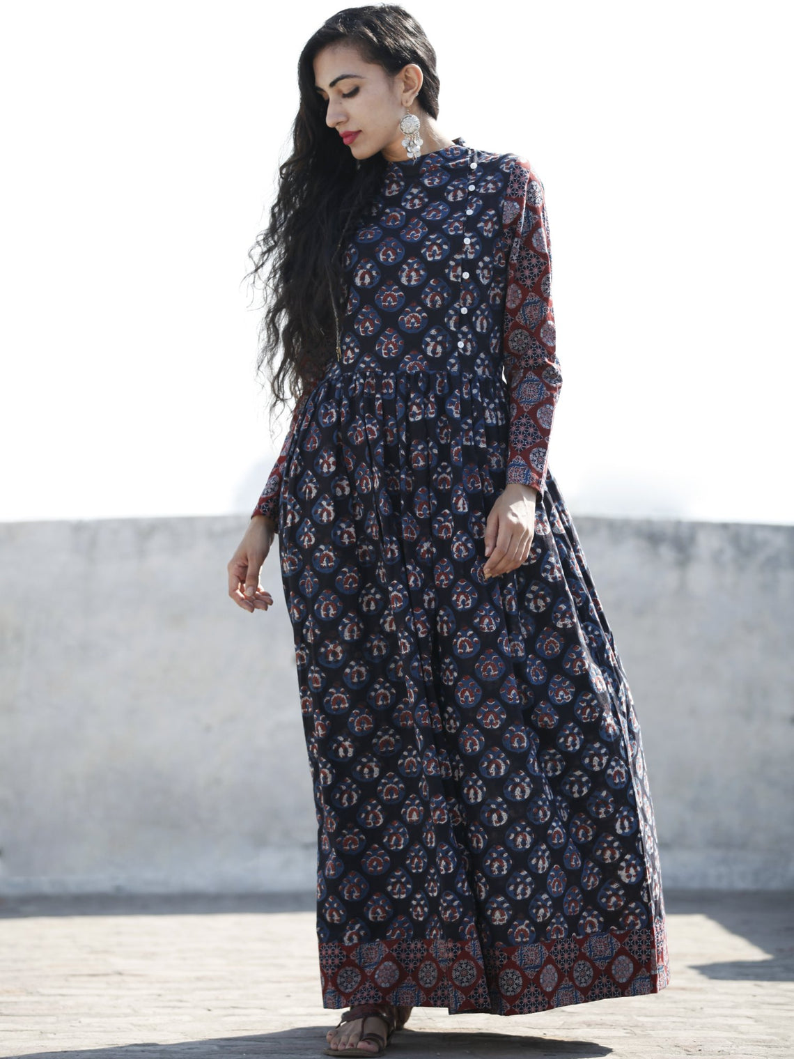 Indigo Plum Hand Block Printed Cotton Long Dress With Stand Collar - D194F1222