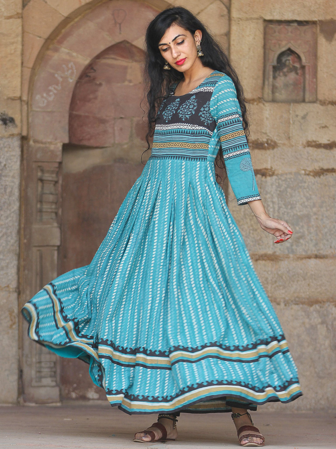 Naaz Block Heritage - Hand Block Printed Long Cotton Pleated Flare Dress - DS68F001