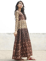 Black Maroon Mustard Orange Ivory  Hand Block Printed Tier Dress  -  D95F892