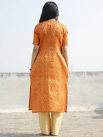Orange Golden Brocade Kurta With Side Slit - 128F001