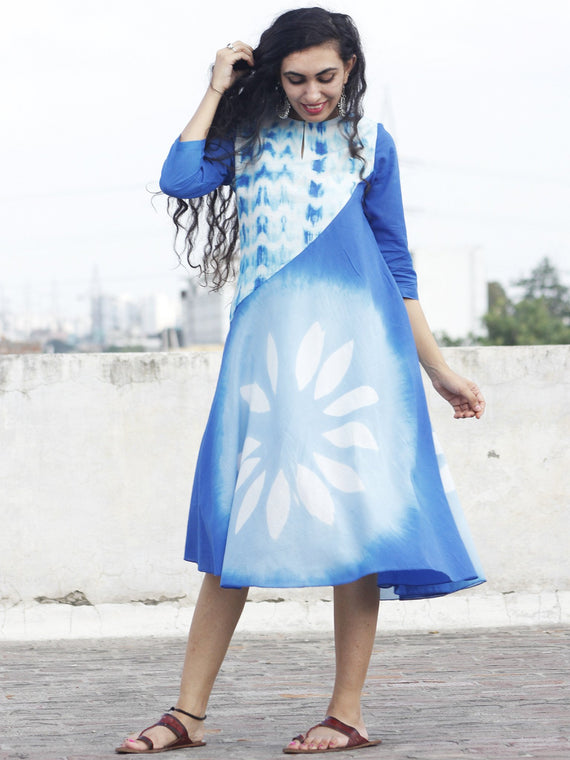 Naaz - Blue White Hand Block Printed & Tie Dye Calf Length Dress with 3/4 Sleeves  - DS28F001