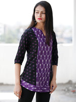 Black Purple Ivory Hand Woven Ikat Cotton Top  - T68F1855