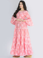 Maira - Pink Bandhani Printed Tier Long Dress With Lace Insert - D407F2205