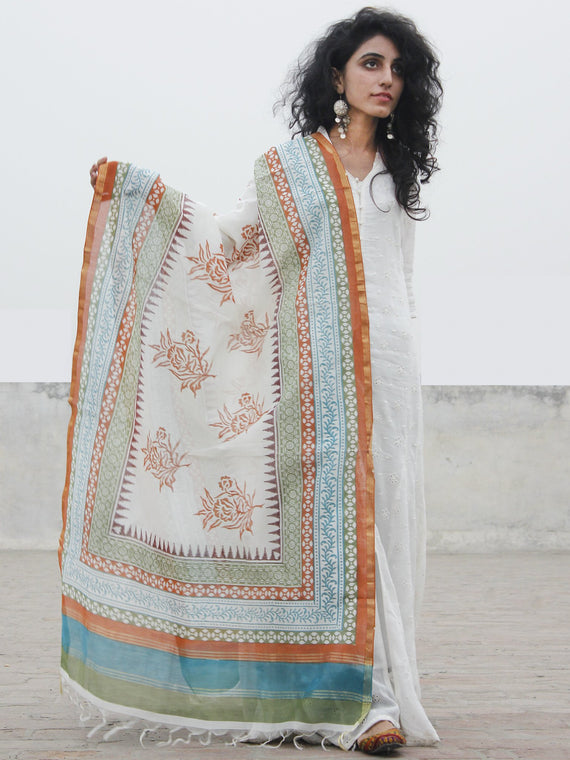 White Blue Brown Chanderi Hand Black Printed & Hand Painted Dupatta - D04170282