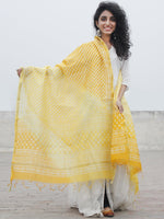 Golden Yellow White Chanderi Hand Black Printed & Hand Painted Dupatta - D04170287