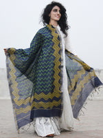 Indigo Green Yellow Chanderi Hand Black Printed & Hand Painted Dupatta - D04170288