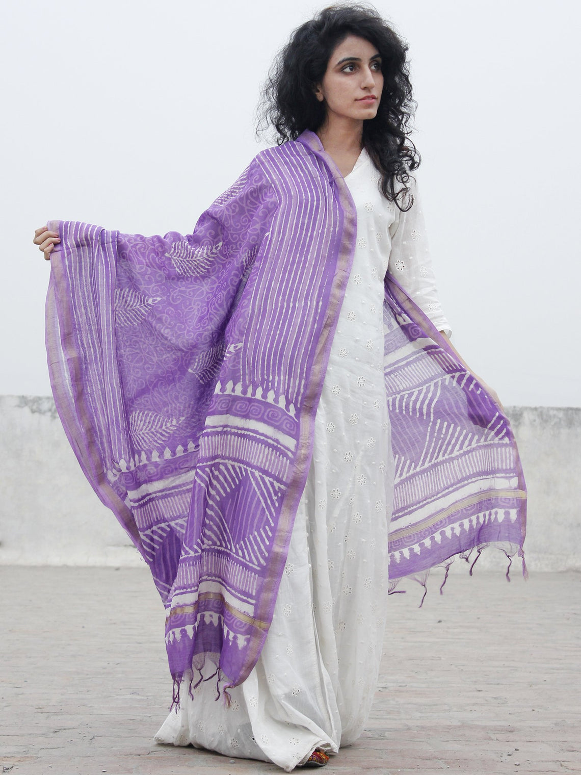 Purple White Chanderi Hand Black Printed & Hand Painted Dupatta - D04170283