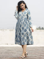 Teal Ivory Hand Block Printed Cotton Angrakha Dress With Gathers - D94F389