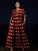 Reddish Brown Ivory Long Ikat Knife Pleated Dress With Side Pockets - D312F1564