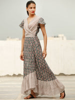 Wrap Round  - Block Printed Cotton Long Dress  - D367FXXX