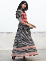 Naaz - Black Red Ivory Hand Blocked Cotton Dress With Stand Collar & Lining - DS45F001