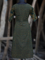 Green Black Yellow Orange Ajrakh Hand Block Printed Kurta With Front Slit - K61BP066