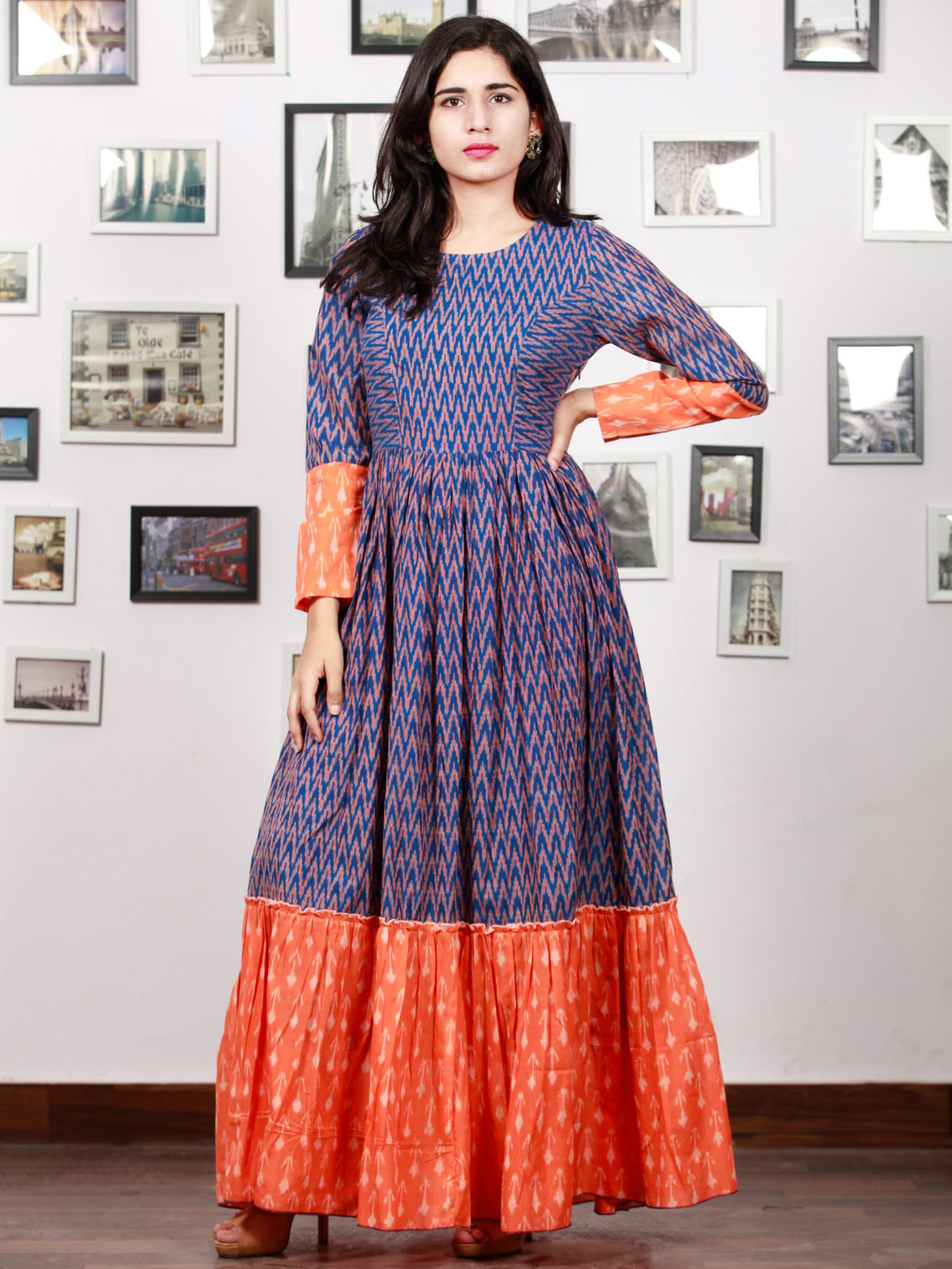 Royal Blue Orange Hand Woven Cotton Mercerized  Ikat Princess Cut Cotton Long Tier Dress - D175F1276