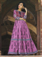 Naaz Lavender Chorus - Hand Block Printed Long Cotton Tier Dress - DS69F001