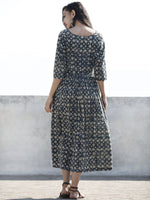 Indigo Black Ivory Bown Hand Block Printed Cotton Midi Dress  - D98F886