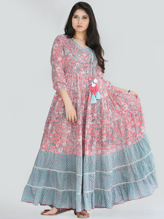 Nohreen - Coral Hand Block Printed Tiered Long Angrakha Dress With Lace & Tassels - D409F2168