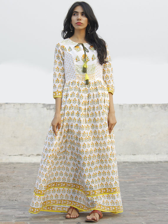 Naaz - Ivory Orange Green Yellow Hand Block Printed Dress With Tassels -  DS37F001