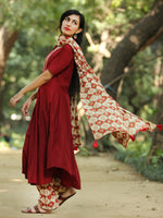 Classy Block And Plain -  Hand Block Printed Kurta Set With Dupatta - SS01F1372
