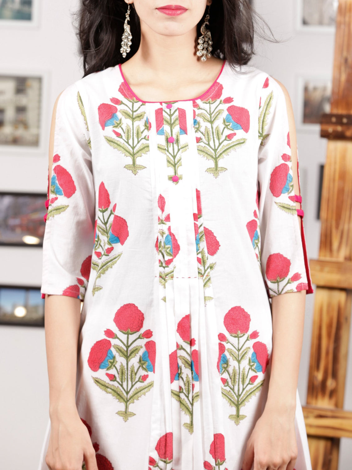White Punch Pink Magenta Hand Block Printed Kurta With Open Sleeves - K103F1503