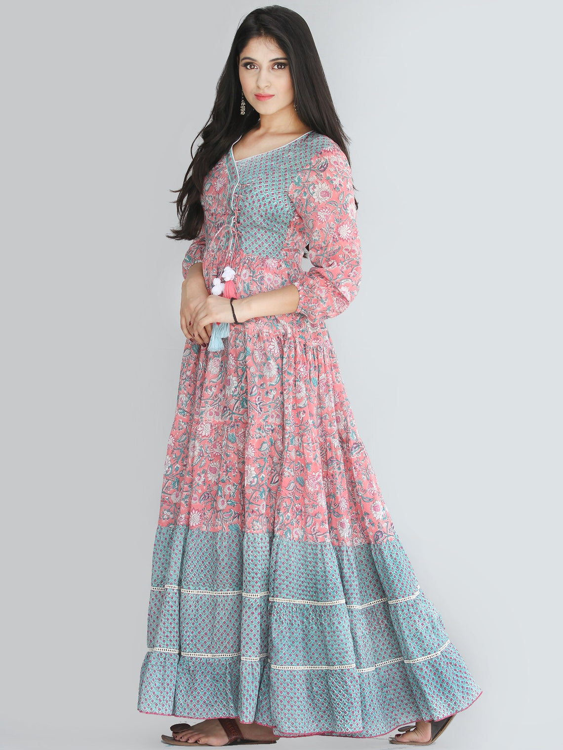 Gulzar Nohreen - Coral Hand Block Printed Tiered Long Angrakha Dress With Lace & Tassels - D409F2168