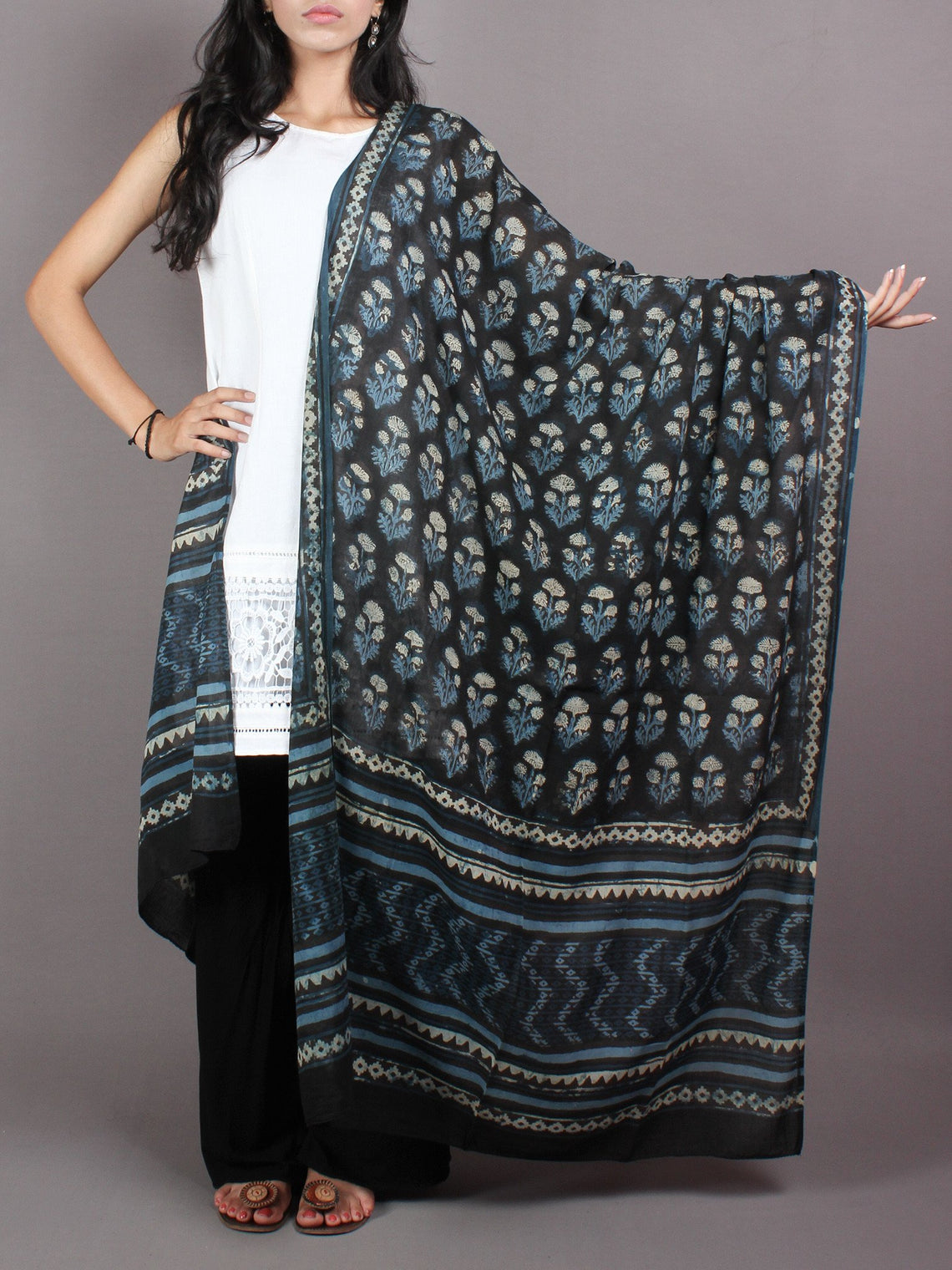 Indigo Multi Color Cotton Mul Hand Block Printed Dupatta - D0417066