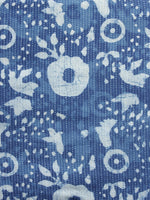 Indigo Ivory Kantha Embroidered Hand Block Printed Cotton Fabric - F004K1118