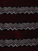 Black White Maroon Ajrakh Printed Cotton Fabric Per Meter - F0916713