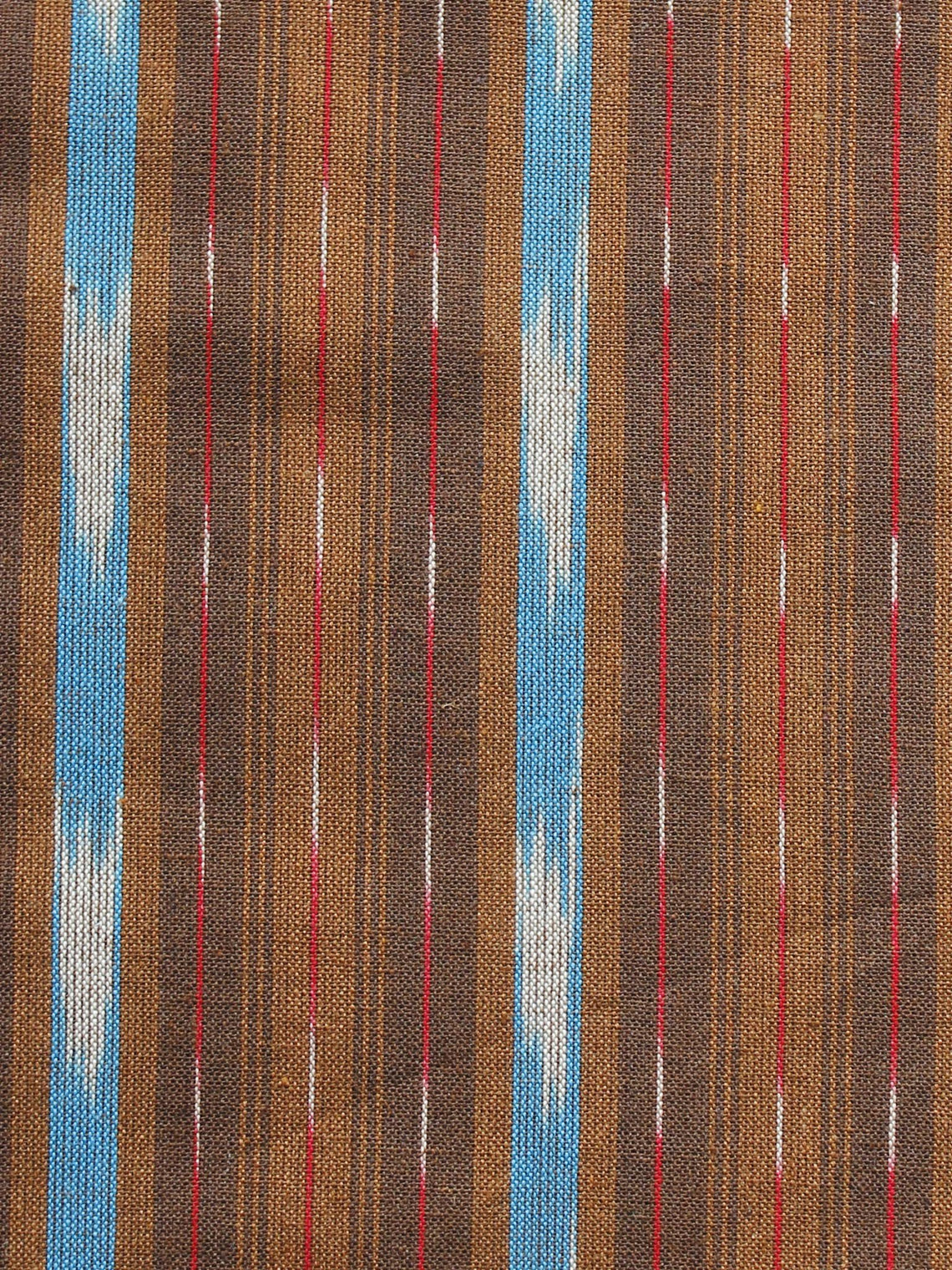 Brown Blue Ivory Pochampally Hand Woven Ikat Fabric Per Meter - F002F921