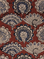Maroon Beige Black Kantha Embroidered Hand Block Peacock Printed Cotton Fabric - F001F565