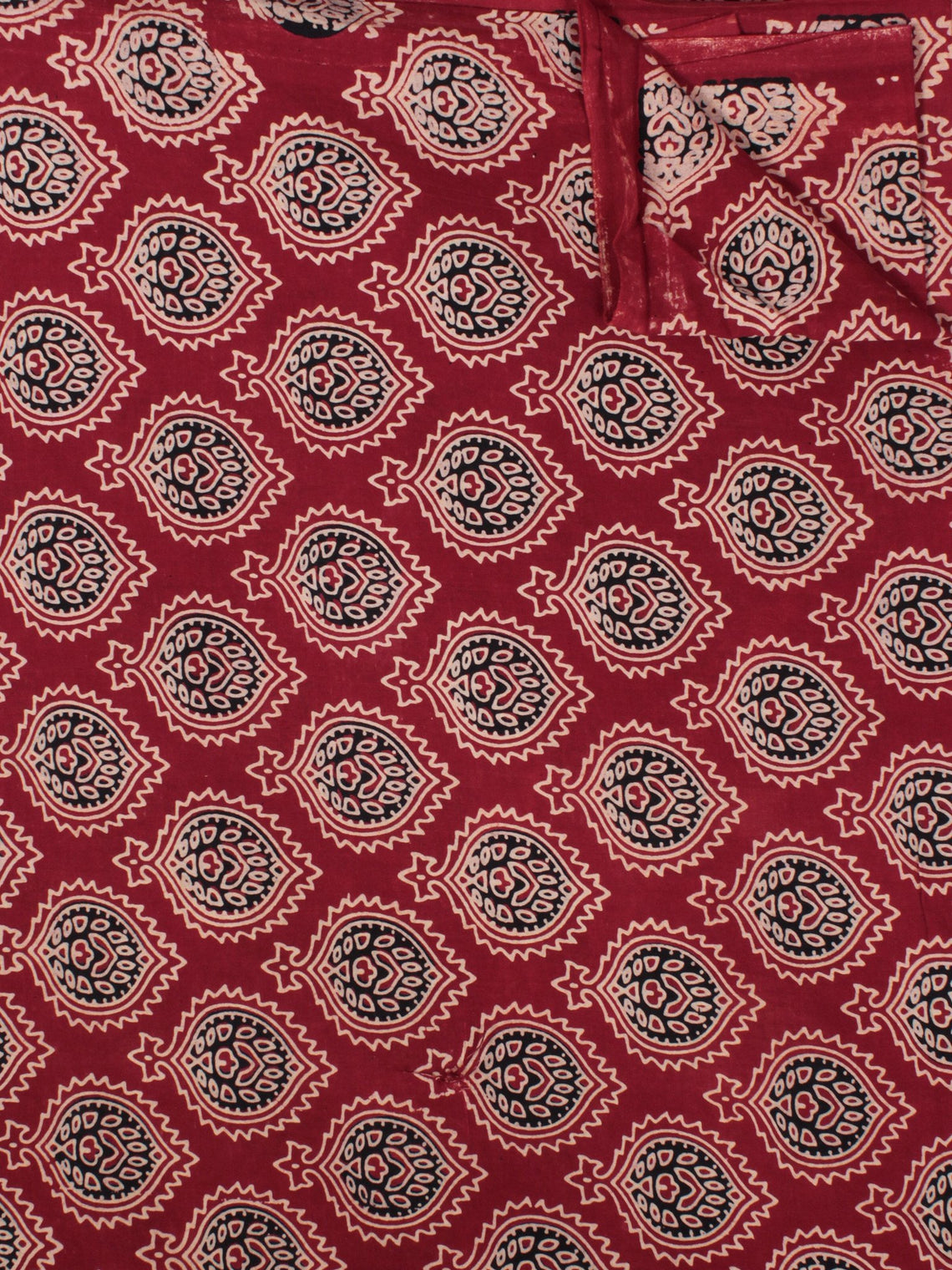Maroon Black Beige Ajrakh Block Printed Cotton Fabric Per Meter - F003F862