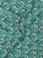 Teal Blue Green Ivory Beige Hand Block Printed Cotton Fabric Per Meter - F001F768