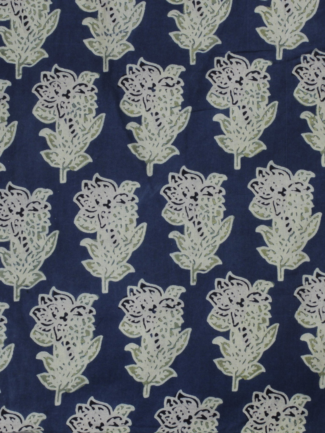 Indigo Mint Green Ivory Ajrakh Block Printed Cotton Fabric Per Meter - F003F642