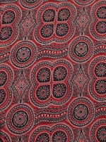 Red Maroon Black Ivory Blue Ajrakh Block Printed Cotton Fabric Per Meter - F0916682