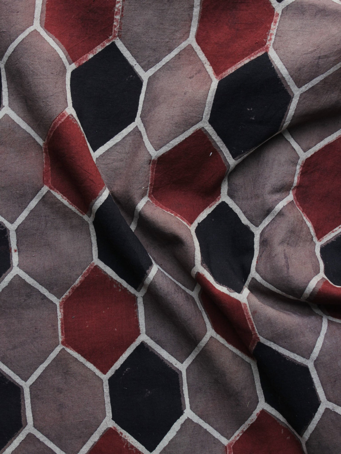 Brown Red Black Ajrakh Printed Cotton Fabric Per Meter - F003F1166