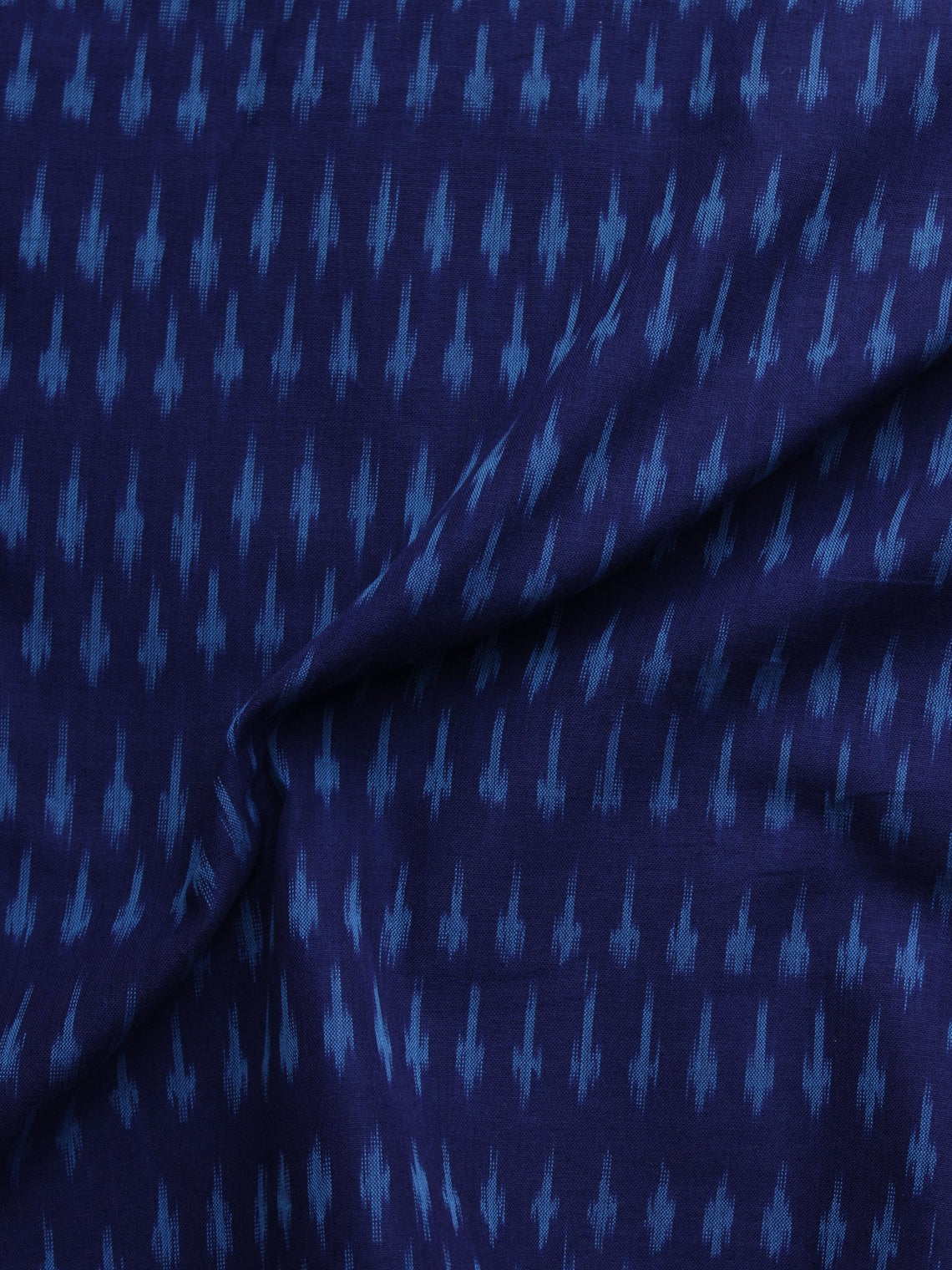 Indigo Blue Pochampally Hand Weaved Ikat Mercerised Cotton Fabric Per Meter - F002F1029