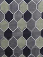 Grey Black Green Ajrakh Printed Cotton Fabric Per Meter - F003F1167