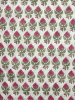 Ivory Green Pink Hand Block Printed Cotton Fabric Per Meter - F001F1057