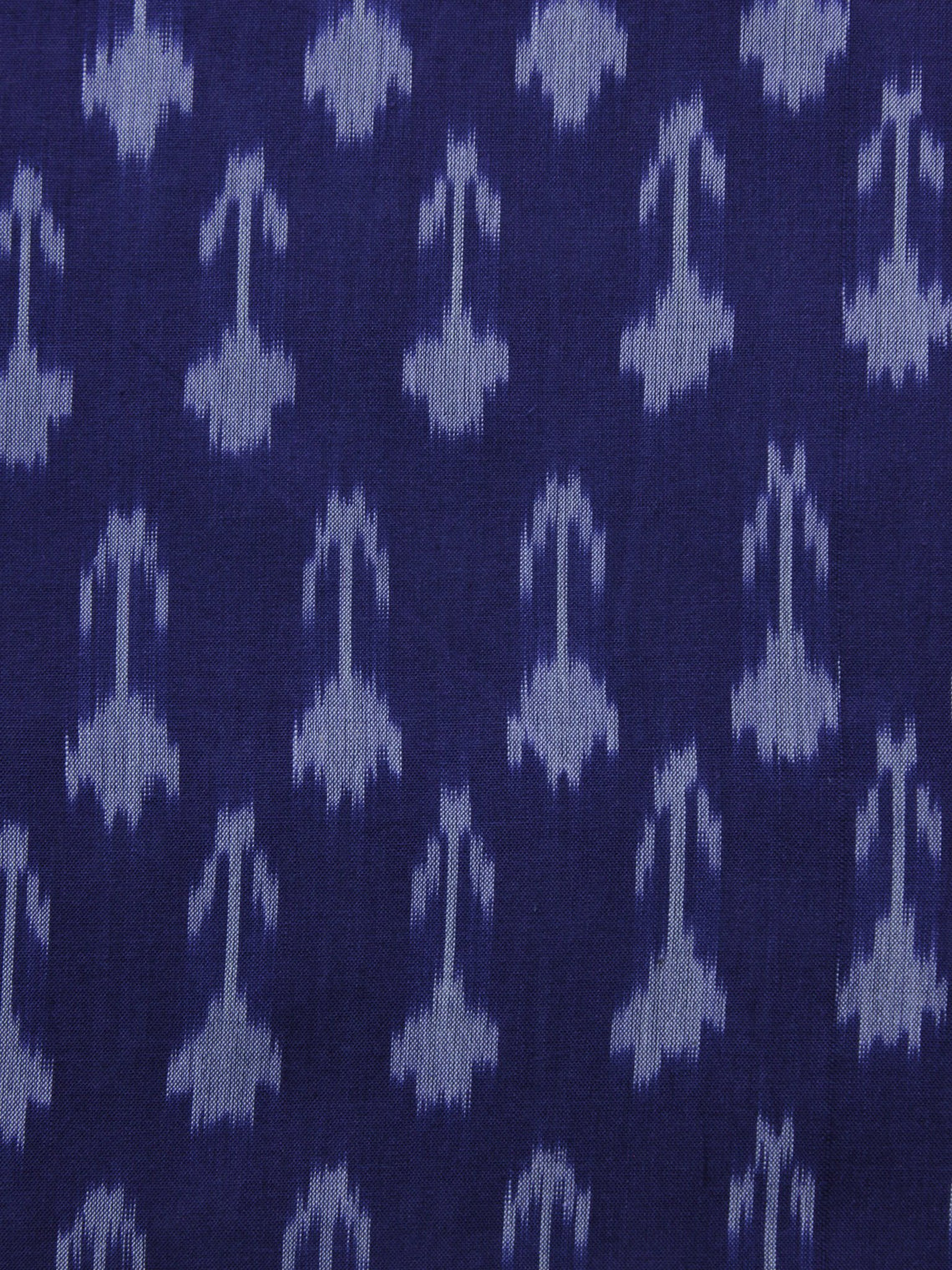 Blue Ivory Pochampally Hand Weaved Ikat Mercerised Cotton Fabric Per Meter - F002F1030