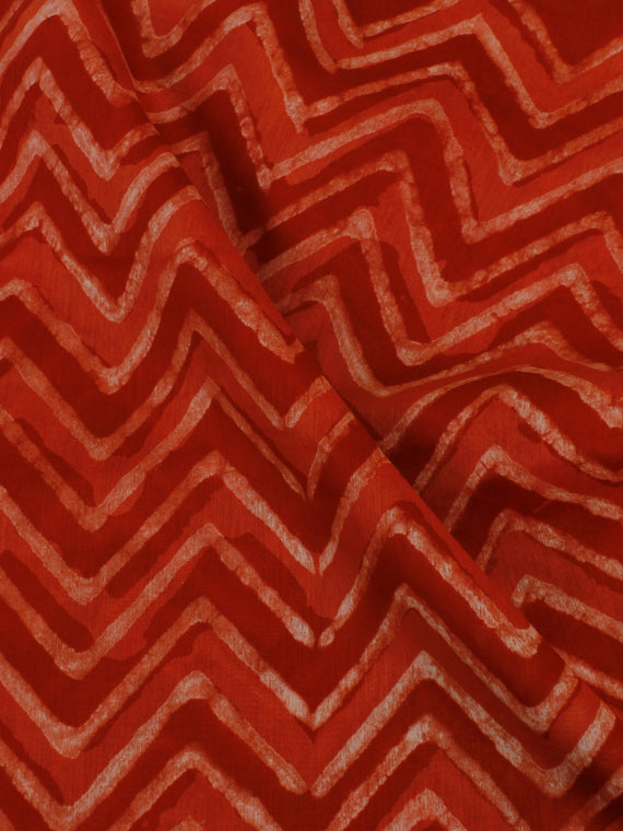 Red White Hand Block Printed Chanderi Silk Fabric Per Meter - F0916200