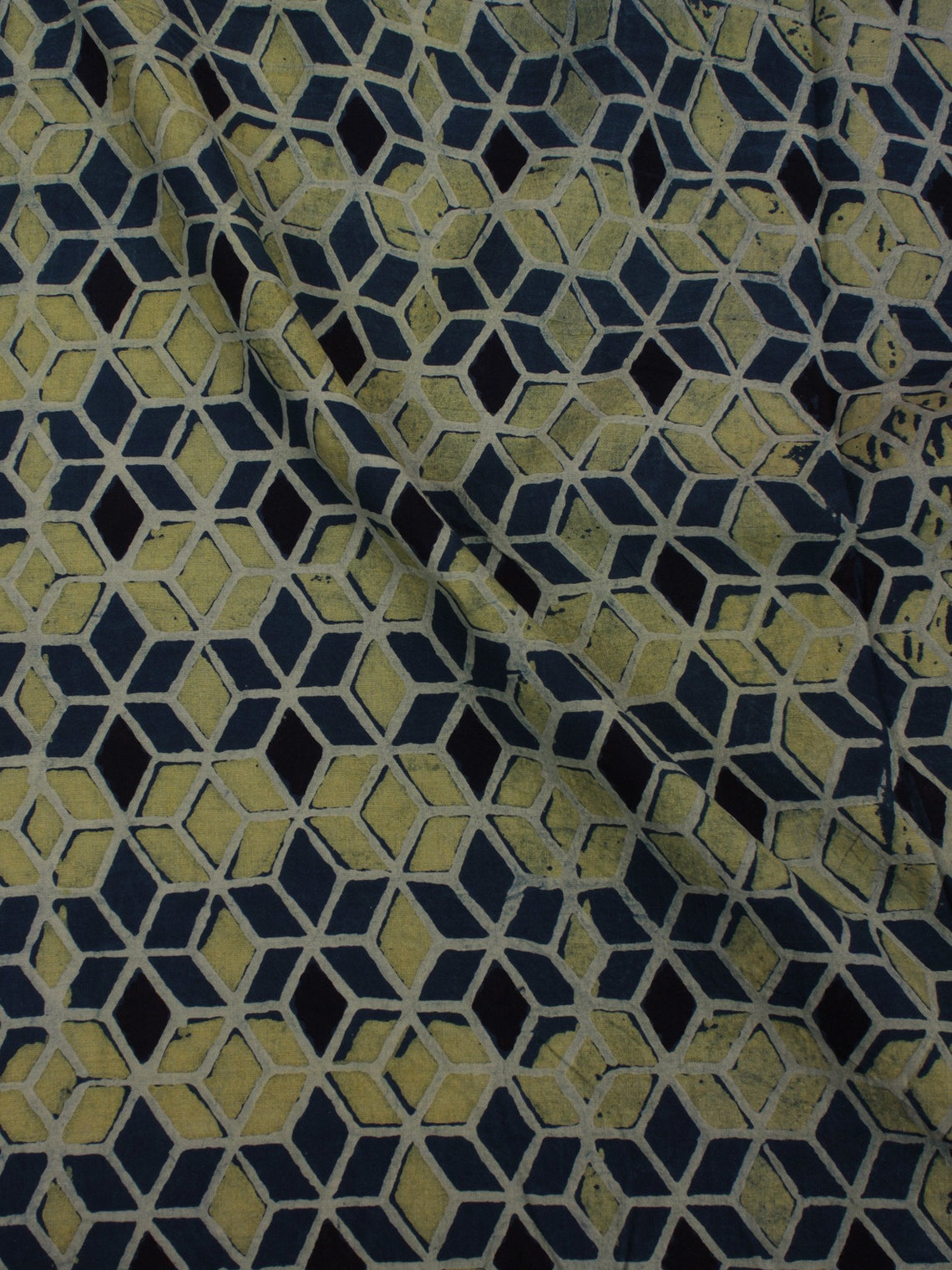 Green Blue Black Ivory Ajrakh Block Printed Cotton Fabric Per Meter - F0916683