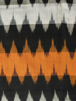 Orange Black Ivory Pochampally Hand Woven Ikat Fabric Per Meter - F002F932