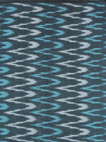 Grey Blue Ivory Pochampally Hand Weaved Ikat Fabric Per Meter - F0916724