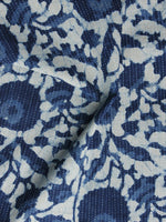 Indigo Ivory Kantha Embroidered Hand Block Printed Cotton Fabric - F004K1129