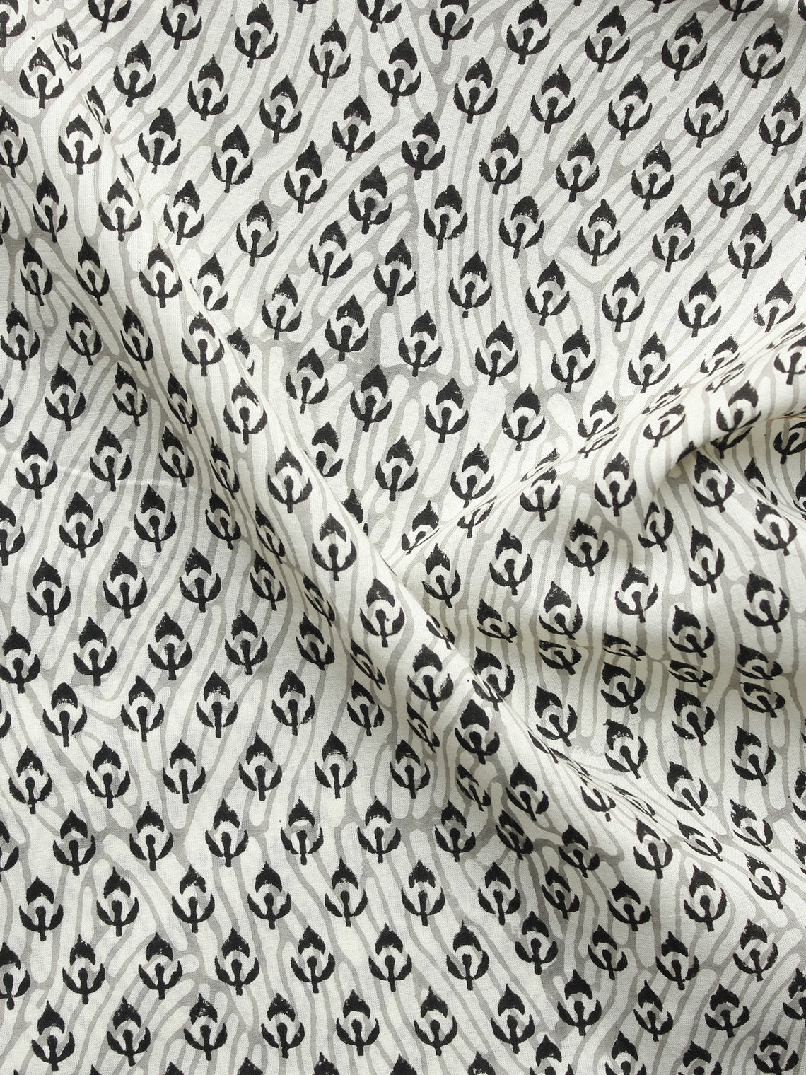 Ivory Grey Black Hand Block Printed Cotton Fabric Per Meter - F001F1058