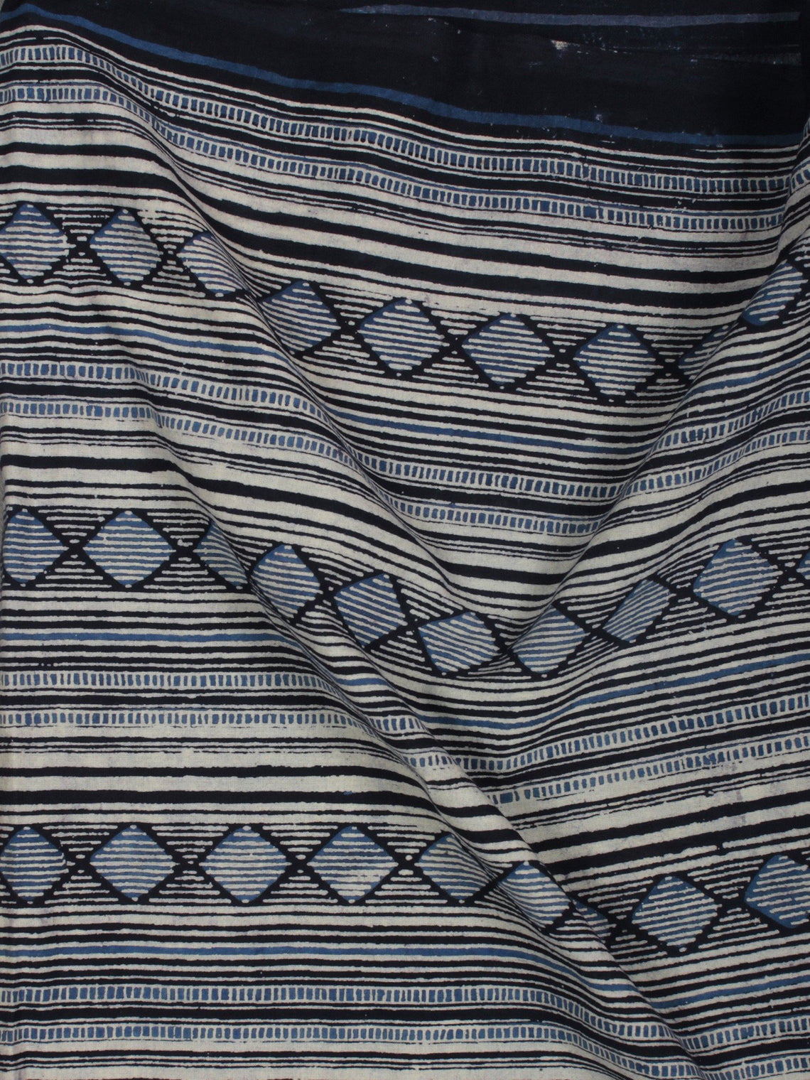 Indigo Black Ivory Ajrakh Block Printed Cotton Fabric Per Meter - F003F847