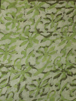 Green Ivory Hand Block Printed Chanderi Silk Fabric Per Meter - F0916198