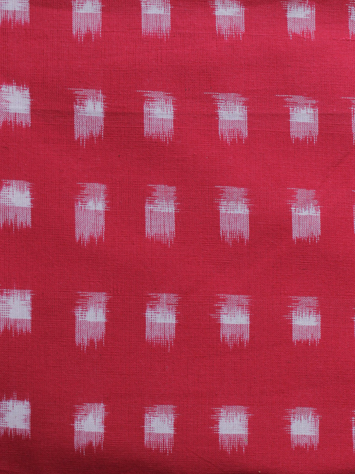 Red White Pochampally Hand Woven Double Ikat Fabric Per Meter - F002F1018