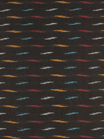 Black Multi Color Pochampally Hand Weaved Ikat Fabric Per Meter - F0916725